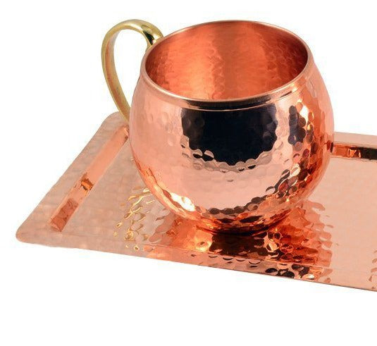 2x TURKISH COPPER MUG SET OF TWO WITH TRAY