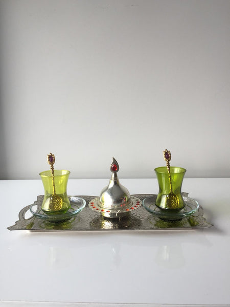 TURKISH TEA SET FOR TWO, GREEN AND SILVER