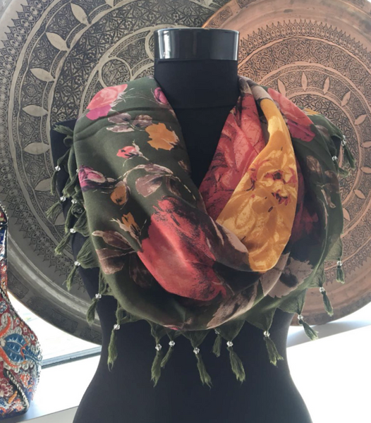 THIN TURKISH SCARF, ORIENTAL FLORALS 22