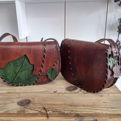 %100 LEATHER BAG, LEAF BAG, HANDMADE