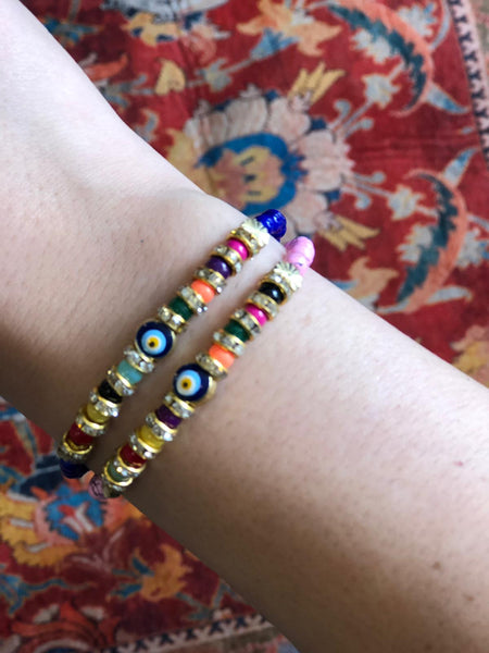 EVIL EYE HANDMADE BRACELET SET OF TWO, 003