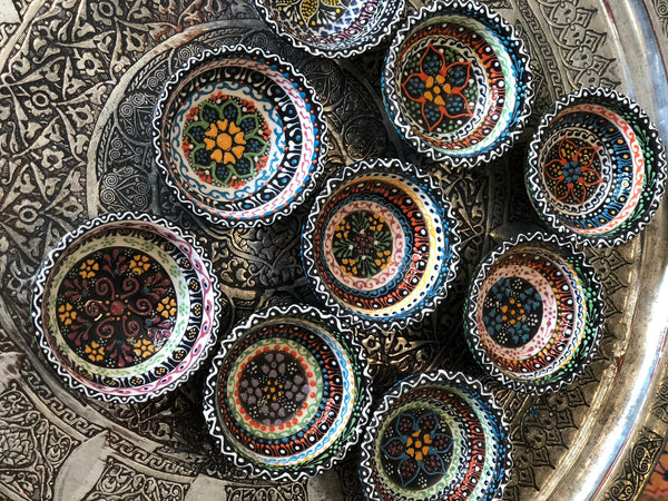 9x TURKISH CERAMIC BOWL SET OF NINE, 5 cm
