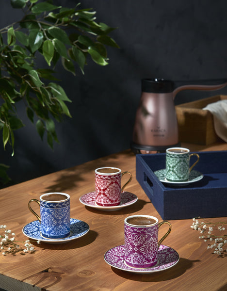 ORIENTAL TURKISH COFFEE SET OF FOUR