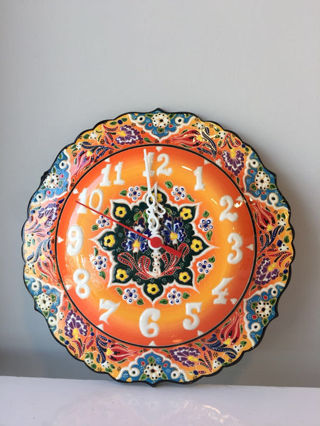 TURKISH CERAMIC WALL CLOCK, ORANGE