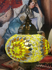 LARGE MOSAIC TABLE LAMP, YELLOW, 099