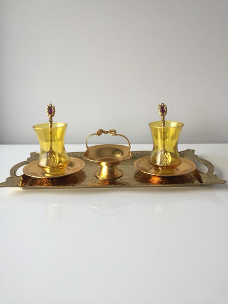 TURKISH TEA SET FOR TWO, GOLD 003