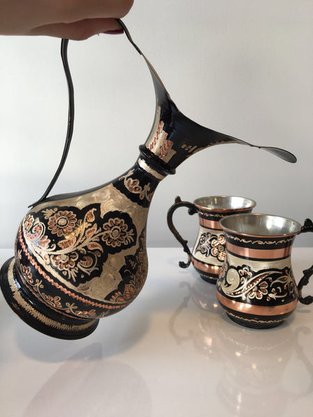 TURKISH COPPER PITCHER AND MUG SET, ERZINCAN STYLE