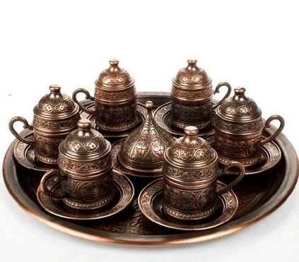 TURKISH COFFEE SET FOR SIX, BROWN