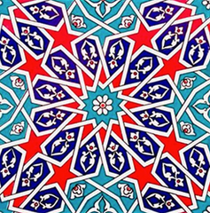"4x IZNIK CERAMIC TILE SET, 20 x 20 cm ( 7.8"" x 7.8"" ), 0025"
