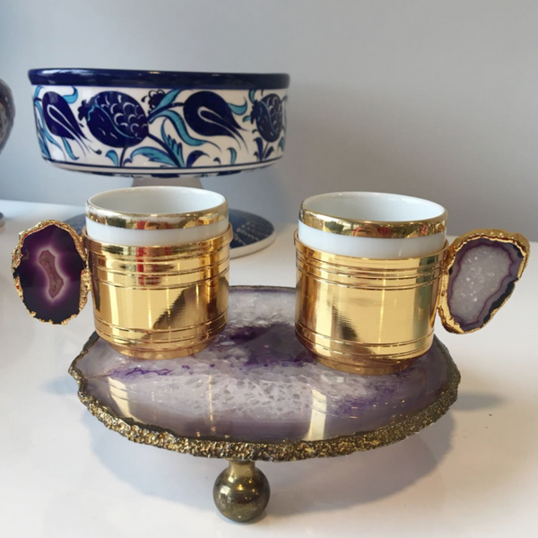 Unique Agate Turkish Coffee Set for Two