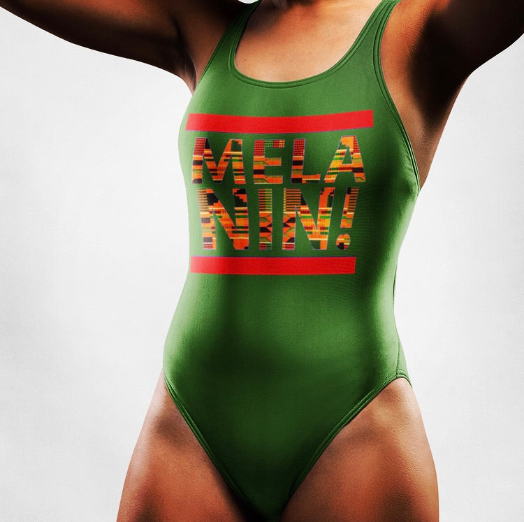 Green kente Melanin One-Piece Swimsuit