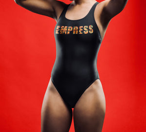 Black kente Empress One-Piece Swimsuit