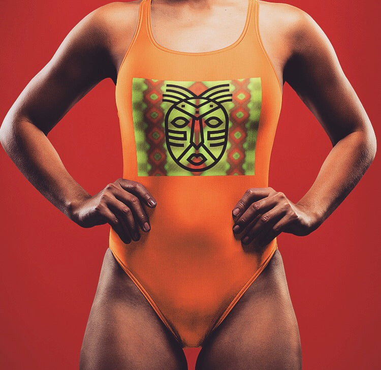 African Mask One-Piece Swimsuit -orange
