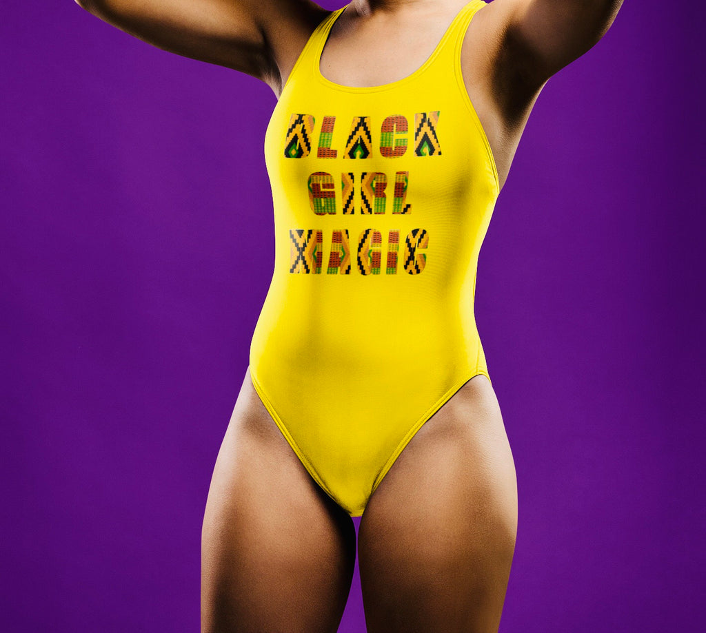 yellow BGM kente One-Piece Swimsuit