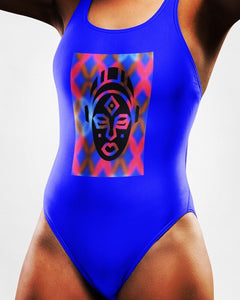 african Mask one-Piece Swimsuit- BLUE