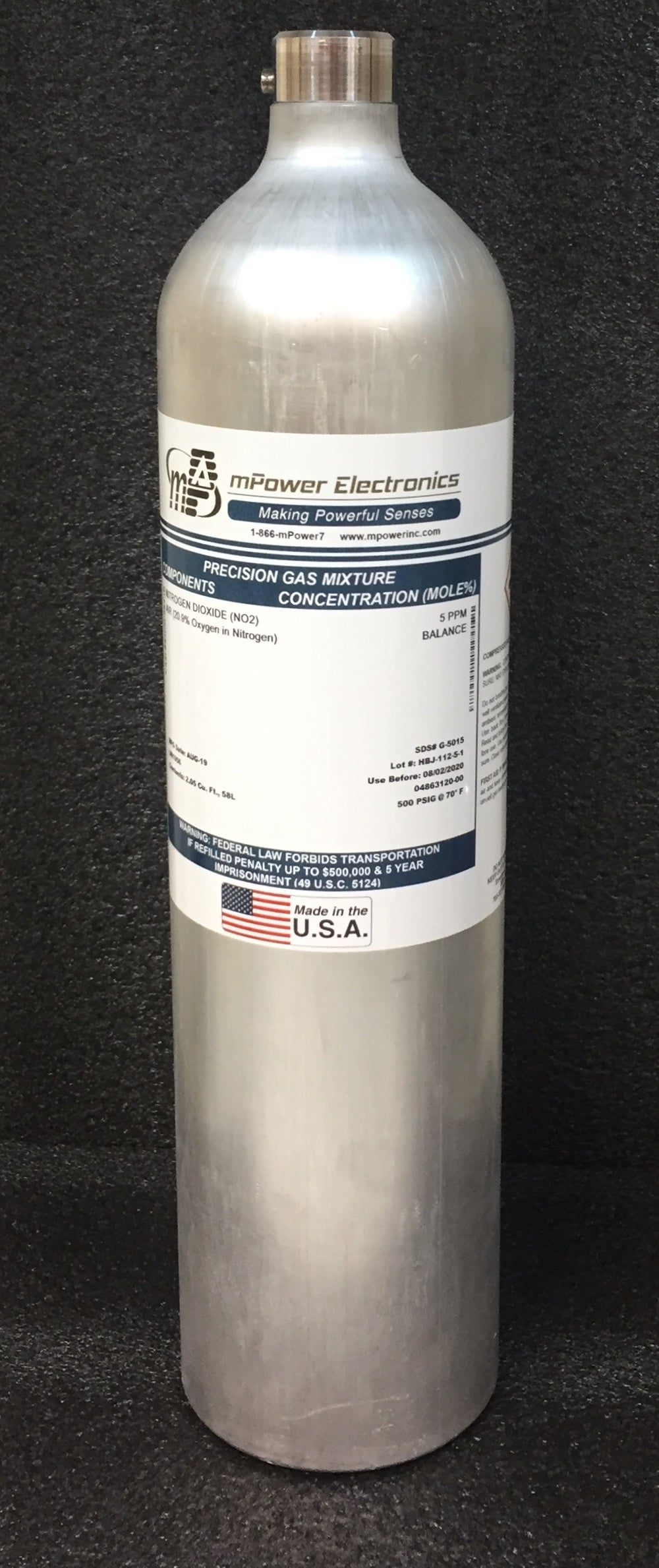 5 ppm Phosphine PH3/Bal air, C-10, 58L - Disposable cylinder