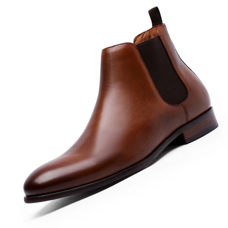 Mens Handmade Brown Chelsea Genuine Leather Sole Strap Ankle High Boots