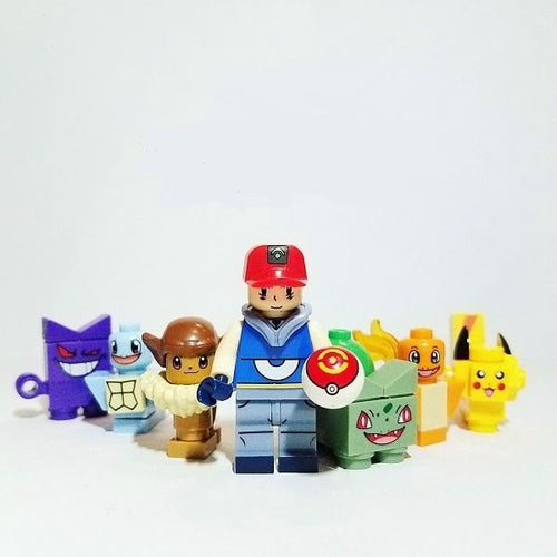 Pokemon - Set of 8 trainers and 8 pokemon minifigures lego compatible