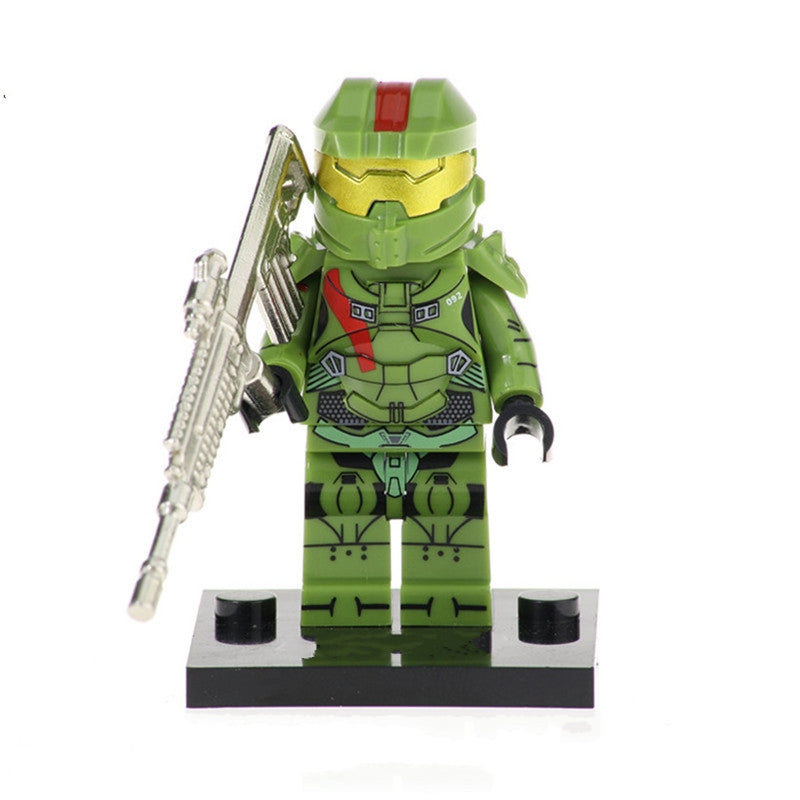 halo set of 8 halo minifigures with weapons in metal lego
