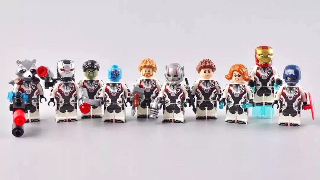 Set of 10 Superheroes custom figures in quantum suits