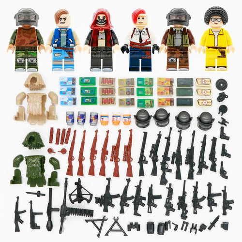 PUBG - Set of 6 PUBG minifigures with more than 30 accessories lego compatible