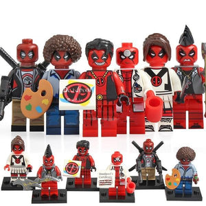 Super Heroes - Set of 6 red ninja minifigures in uniform