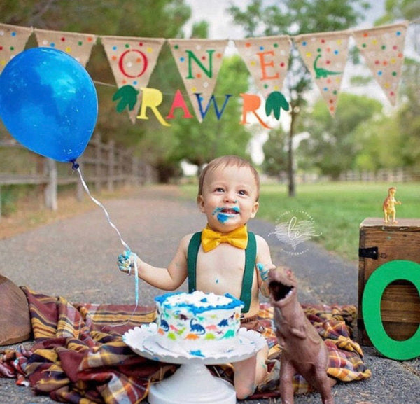Roar inspired Smash Cake Boy First Birthday  brown cotton Diaper Cover, pine green Suspenders,yellow bow tie - beecutebaby