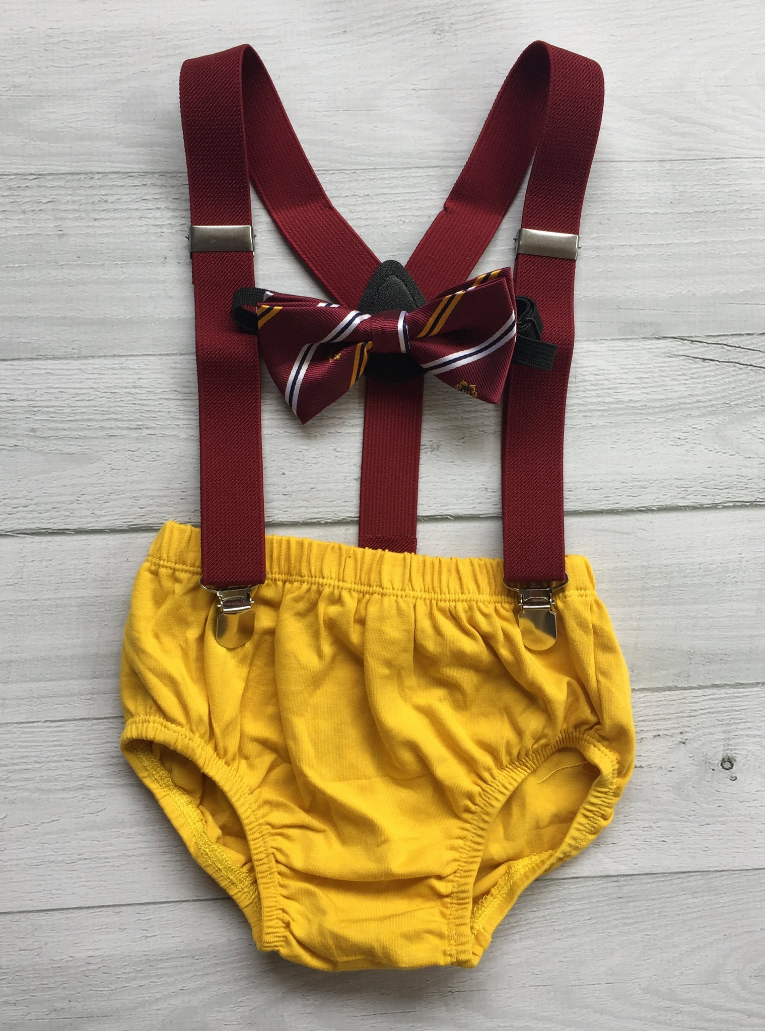 Harry Potter inspired  Cake Smash Outfit ,Mustard Diaper Cover, Wine Bow Tie and Wine  Suspenders.