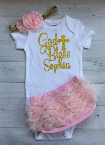 3 pcs Set Personalized Baptism Outfit After Party.