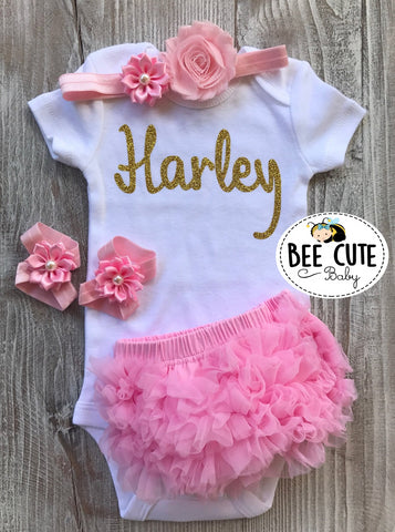 Personalized New Born Baby Girl Outfit