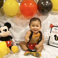 Mickey Mouse Cake Smash Diaper Cover Boy First Birthday , yellow tie, red  Diaper Cover and black Suspenders 1st Birthday Photoshoot - beecutebaby