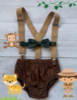 Safari  Smash Cake Boy First Birthday  brown cotton Diaper Cover, tan Suspenders, dark green  bow tie - beecutebaby