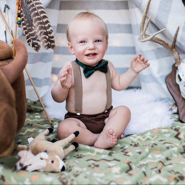 Safari  Smash Cake Boy First Birthday  brown cotton Diaper Cover, tan Suspenders, dark green  bow tie