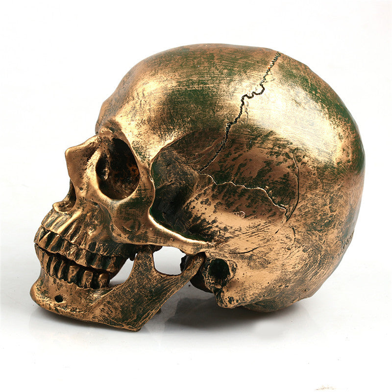 Bronze Human Skull Home Decor