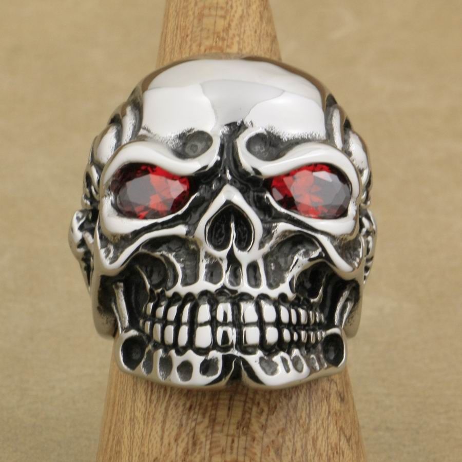 Skull with Red CZ Eyes Ring 316L Stainless Steel