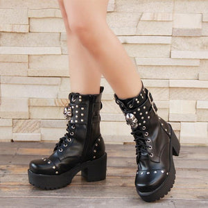Skull Gothic Punk Rock Lace-up Boots