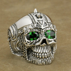 Green CZ Eyes 925 Sterling Silver