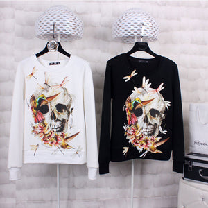 Dragonfly Skull Long Sleeve Thin Pullover Sweatshirt