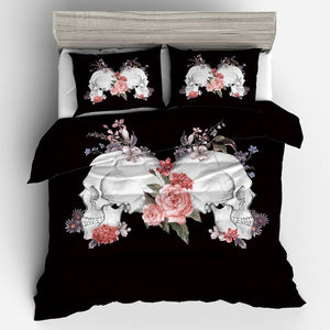 Skull & Flower Bedding Set