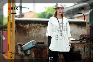 Hip Hop Rock Skull White T Shirt