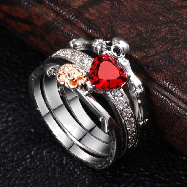 Silver Skull & Red Heart Ring Women