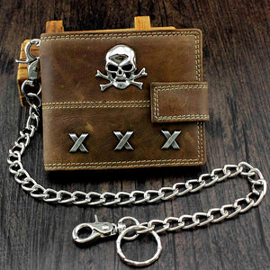 Skull Biker Span Leather Wallet