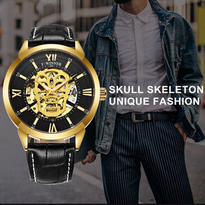 Luxury Automatic Mechanical Wristwatches T-WINNER Golden Skull Watches
