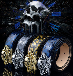 Skull Pirate Buckle Genuine Leather Belt