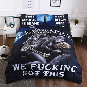 """It's You And Me Against The World, We f****king got this"" Skull Bedding Sets"