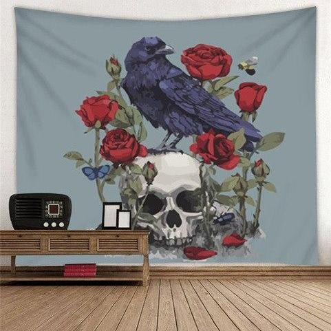 Raven & Skull Tapestry Wall Hanging
