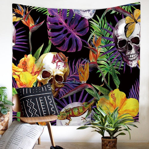 Skull with Flowers Tapestry Wall Hanging