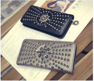 Designer Leather Vintage Skull And Rivet Clutch Bag