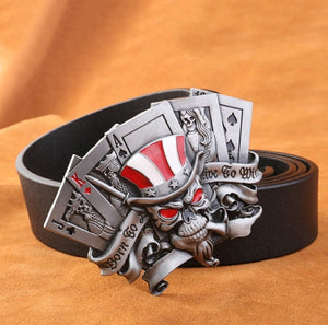 Skull with Cards Genuine Leather Belt