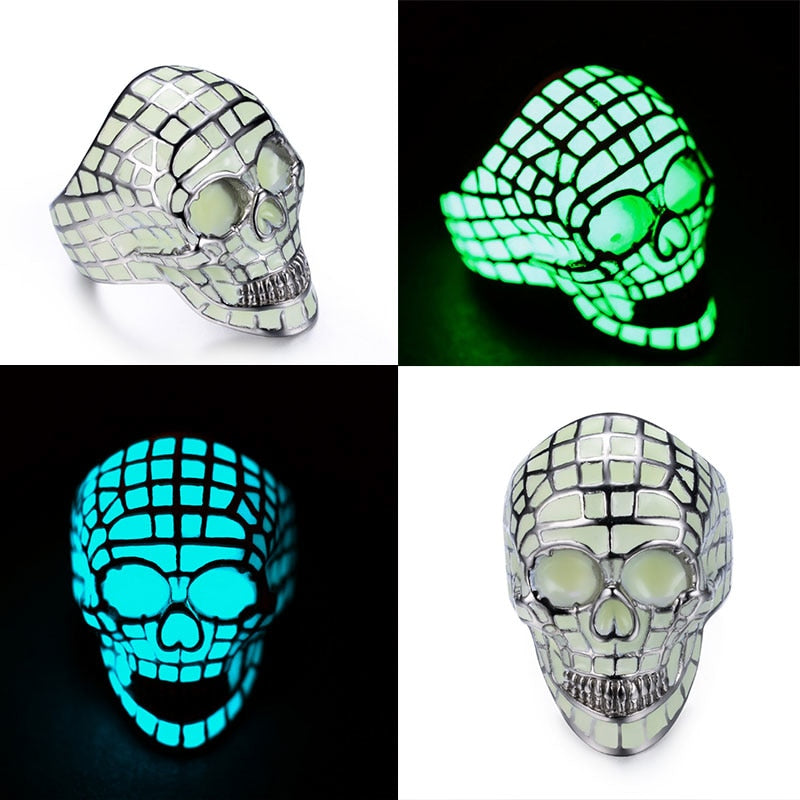 Skull Rings Luminous Glow In The Dark Stainless Steel